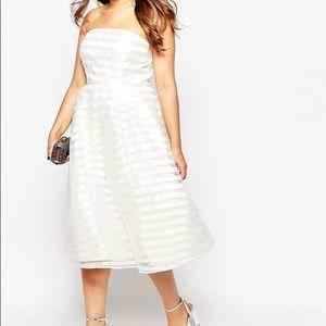 ASOS Truly You white organza stripe dress